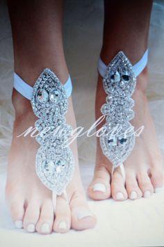 Rhinestone anklet Beach wedding barefoot sandals by newgloves, $55.00