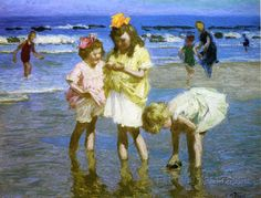 """""""Three Girls by the Seashore,"""" Edward Henry Potthast, oil on panel, 12 x private collection. Painting People, Figure Painting, Art Plage, American Impressionism, Spanish Artists, Seascape Paintings, Landscape Paintings, Beach Art, Beach Kids"""