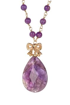 Pink Rhodium Faceted Drop Amethyst Necklace on HauteLook