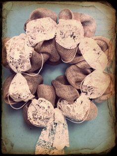 Shabby Chic Burlap and Lace wreath by PollysPinkTurtle on Etsy, $58.00