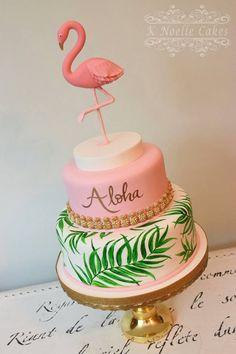 Bolo flamingo por K Noelle Cakes - Themed Cakes - Festa Flamingo Baby Shower, Flamingo Cake, Flamingo Birthday, Pink Flamingo Party, Bolo Aloha, Aloha Cake, Pool Party Cakes, Luau Cakes, Hawaiian Cakes