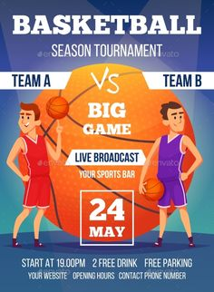 Buy Poster Invitation at Basketball Championship by ONYXprj on GraphicRiver. Poster invitation at basketball championship. Design template with place for your text and sport characters. Vector c. Basketball Posters, Sports Basketball, Sports Games, Sports Bra Outfit, Competition Games, Volleyball Quotes, Basketball Season, Sport Photography, Super Sport
