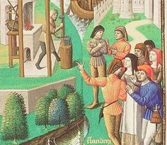 The Hague, MMW, 10 A 11	 fol. 179r Book 4, 2  detail: The earth is torn asunder in Flanders Paris, Maïtre François (illuminator); c. 1475; 1478-1480 - blacksmith's apron and middle-class woman's apron, same book has woodcarver's aprons: http://manuscripts.kb.nl/zoom/BYVANCKB%3Amimi_mmw_10a11%3A316v_min_1