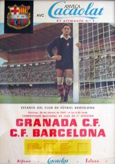 CARTEL GRANADA C.F. - C.F. BARCELONA - 1960 (Ramallets) Cacaolat