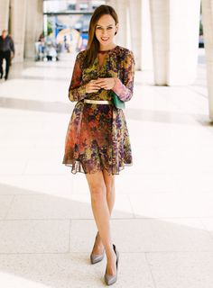 Sydne-Style-new-york-fashion-week-street-style-hunter-bell-floral-dress-gold-belt-lincoln-center