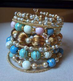 Beaded Wrap Bracelet, Recycled Vintage Bracelet, Memory Wire Bracelet, Wrap Around Bracelet, Beaded Bracelet Cuff, Stacked Bracelet. $32.00, via Etsy.