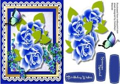 Beautiful Blue roses and Flowers  on Craftsuprint designed by Ceredwyn Macrae - A lovely card with Beautiful blue roses and flowers in a gold frame a lovely card has two greeting tags and a blank one , - Now available for download!