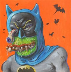 Comic Art For Sale from Anthony's Comicbook Art, Zombie Batman 'Bat Fink' Portrait - Signed by Comic Artist(s) Dave Burke