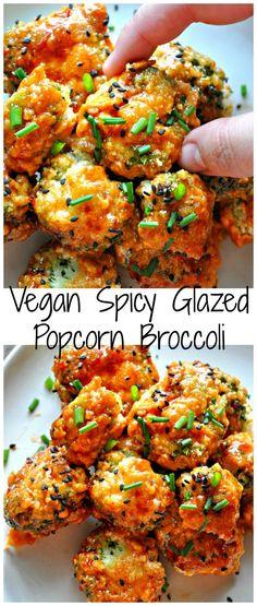 Vegan Spicy Glazed Popcorn Broccoli - Rabbit and Wolves