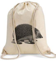 Turnbeutel Igel Druck, 100% cotton // gym bag hedgehog print via DaWanda.com