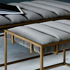 Fontanne Ottoman Bench – Fabric, Grey Washed Velvet at West Elm – Benches – Home Decor #furnituredesign