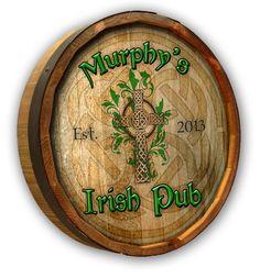 Personalized Irish Pub Quarter Barrel Sign