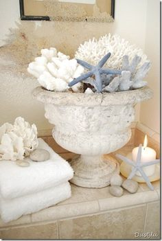 Beach House starfish & coral in urn coastal chic home decor
