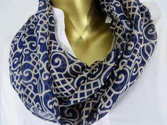 The kolam scarf White and blue infinity scarf - chiffon infinity scarf - circle scarf