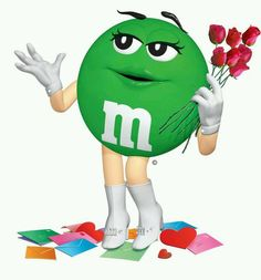 Roses for Ms Green Green M&ms, Miss Green, Green Colors, M&m Characters, Fictional Characters, M Image, Happy Valentines Day Card, Candy Art, Card Candy