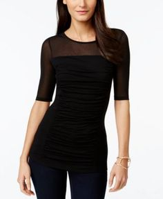 INC International Concepts Short-Sleeve Ruched Illusion Top, Only  at Macy's-going out top