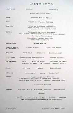 Chusan menu