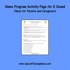 Home Program Activity Page for K Sound - Ideas for Parents and Caregivers