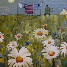 UK ~ Gordon Wilson ~ Washing Hung - too small Colorful Paintings, Beautiful Paintings, Laundry Art, Pictures To Paint, Painting Pictures, Wilson Art, Lost Art, Art Themes, Naive Art