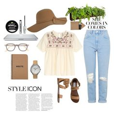 """casual lazy day"" by holleylillian on Polyvore featuring STOW, Topshop, Nixon, Steve Madden, Viktor & Rolf, Bare Escentuals and Woolly Pocket"