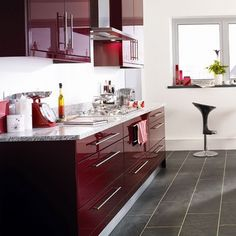 Burgundy Color | ... kitchen cabinets - Modern Kitchen With Maroon Color - D&S Furniture