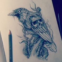 Raven by ElenSoul by ElenSoul on DeviantArt Tattoo Design Drawings, Skull Tattoo Design, Tattoo Sleeve Designs, Tattoo Sketches, Sleeve Tattoos, Hai Tattoos, Kunst Tattoos, Body Art Tattoos, Crow Tattoos
