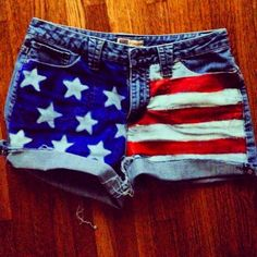 DIY American flag shorts <3