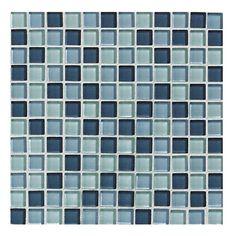 """Lowes: American Olean 12"""" x 12"""" Delfino Ocean Blues Glass Wall Tile"""