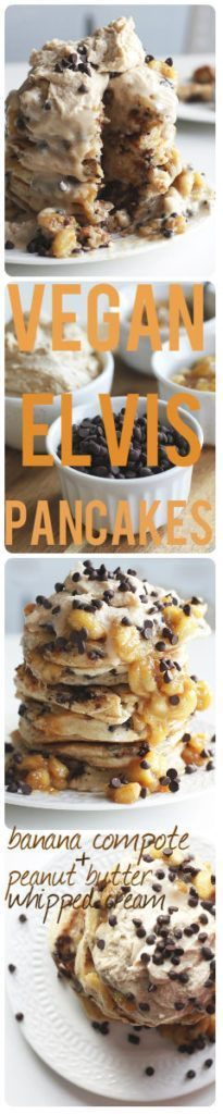 Vegan Elvis Pancakes with Peanut Butter Whipped Cream are the king of all desserts. You'll be drooling, crossing you eyes, and begging for more! www.twocityvegans.com/