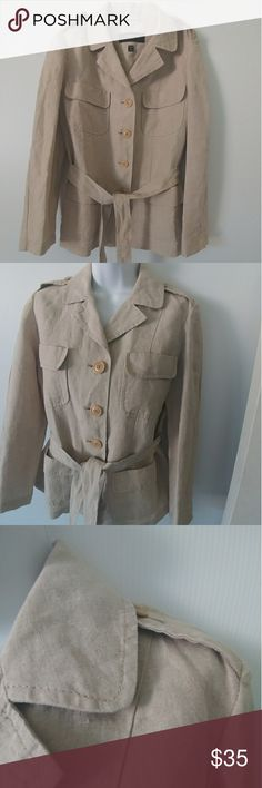 """WEEKEND SAFARI MAX MARA JACKET GORGEOUS MAX MARA LINEN JACKET! LIKE NEW CONDITION. HAS THAT BOLD SAFARI LOOK. 4 POCKETS IN THE FRONT. EUPALETTES WITH BUTTONS. BEIGE BUTTONS DOWN TO HEM AND TIE AT THE WAIST FOR A MORE FEMININE LOOK. 100% FLAXLINEN. SLEEVE LENGHT: 21-1/2"""" SHOULDER TO HEM LENGHT: 25"""" CHEST FLAT: 18 -1/2"""" Max Mara Jackets & Coats"""