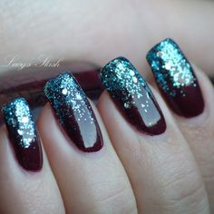 Nail Art - 'Frozen Tips' manicure with OPI Muppets Pepe's Purple Passion and Gone Gonzo