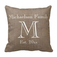 Personalized Rustic Burlap-Look Family Keepsake Throw Pillow