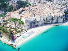 Aerial view of Tropea Strand, Italy province Vibo Valentia Calabria Tropea Italy, Villas, Destinations, Exotic Beaches, Holiday Accommodation, Southern Italy, Romantic Travel, Aerial View, Viajes
