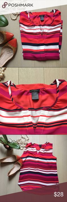 Ann Taylor Striped Top Sweet striped top with split neck and hidden buttons halfway down the front. Colors are Coral, maroon, navy and white...Great for work or with jeans. Worn once! Open to reasonable offers and bundles! Ann Taylor Tops Blouses