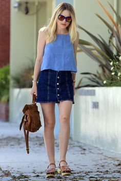 144 ways to style denim or jeans this summer: Dakota Fanning's denim mini skirt