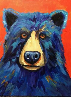 Bear Painting Abstract Bear Art Colorful Contemporary Bear original Painting Handpainted Blue Bea Ex Simple Oil Painting, Simple Acrylic Paintings, Colorful Paintings, Painting Abstract, Bear Paintings, Original Paintings, Bear Paint Colors, Bear Art, Shops