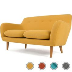 Dylan 2 Seater Sofa, Yolk Yellow from Made.com. Introducing Dylan. A sofa for the ages. Combining classic mid-century style with up-to-date colour o..