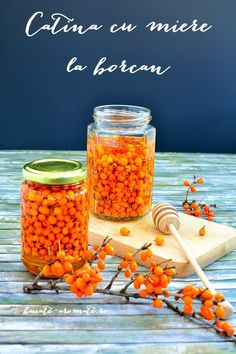 "Seabuckthorn is named ""the immunity queen"". Put it in a honey jar for a cold season without colds. (in Romanian) Vegetarian Recipes, Cooking Recipes, Healthy Recipes, Goodies, Honey, Healthy Eating, Food, Manual, Homemade Things"