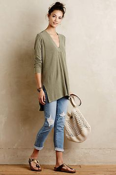 Slubbed V-Neck Tunic - #anthroregistry