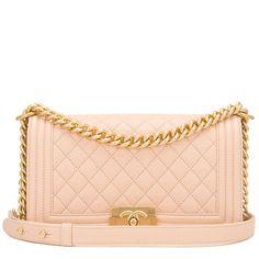 #Chanel Light Beige Quilted Caviar Medium Boy #Bag
