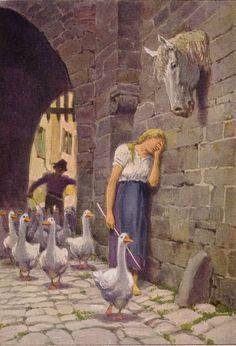 """""""Die Gänsemagd"""" - Illustration zu Grimms Märchen, von Professor Paul Hey, Maler, Grafiker und Illustrator (19.10.1867 in München - 14.10.1952 Gauting)"""
