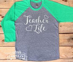 Teacher Life, baseball style, teacher, school spirit, Teacher shirt, School shirt, teacher gift, gift ideas, baseball shirt by SimplyEmmaJs on Etsy https://www.etsy.com/listing/494574712/teacher-life-baseball-style-teacher