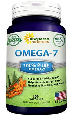 Purified Omega 7 Fatty Acids - 200 Capsules - Natural Sea Buckthorn Oil, XL Vitamin Supplement, No Fish Burp, Omega-7 Palmitoleic Acid, Compare to Omega 3 6 9 for Complete Weight Loss Results!