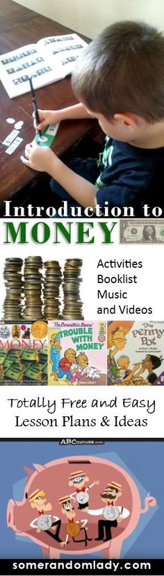 Money lesson plans, elementary introduction to money, streaming resources and media youtube, booklist, kindergarten, first grade, second grade, introduction to currency, coins, cash, dollar bills, music, songs, videos, unit plans #homeschool #homeschoolin