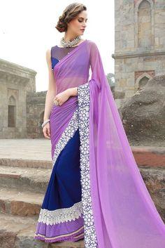 Gorgeous Navy Blue and Light Purple Saree