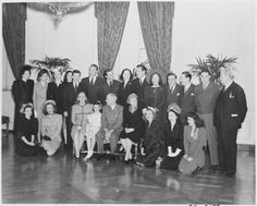 Photograph  movie stars posing with President Truman and his family at the White House: Ilene Woods; Diana Lynn; Margaret Truman; Margaret O'Brien; the President; Mrs. Truman; Constance Moore; Dorothy Kilgallen; Eileen Barton; (back row, left to right) Jo Stafford; Eleanor Lambert; Angela Lansbury; Helen Sioussat; Eddie Bracken; Paul Henreid; Zachary Scott; Alexis Smith; Cesar Romero; Lucy Munroe; William Bendix; Reginald Gardiner; Sgt. Harvey Stone; Charles Coburn.Date 28 January 1946 ❤❁❤❁❤...