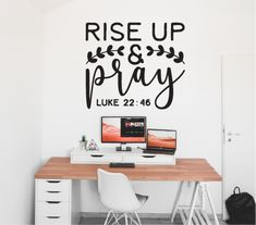 "Simple and inspiring wall decal for any room in your home ""Rise up and Pray"" Wall Stickers, Wall Decals, Simple Wall Paintings, Christian Wall Art, Adhesive Vinyl, Circuit, Bff, Pray, Prints"