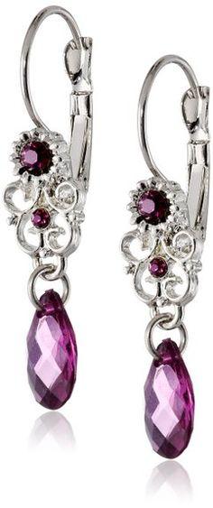 """1928 Jewelry """"Essentials"""" Silver-Tone Amethyst Purple Teardrop Earrings"""