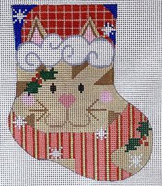 In-Stock Canvases – BeStitched Needlepoint Mini Stockings, Needlepoint, Canvases, Cats, Character, Design, Gatos, Needlework, Cat