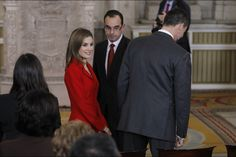 King Felipe VI and Queen Letizia of Spain at the Investigation National Awards at Madrid's Royal Palace today 15 January 2015